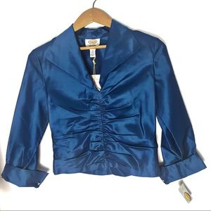 NWT 100% silk taffeta ruched long sleeved collared